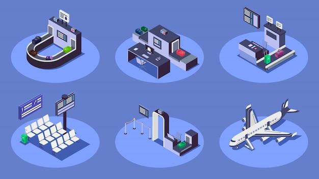 Conjunto de ilustraciones isométricas en color del aeropuerto. la compañía aérea moderna presta servicios el concepto 3d en fondo azul. mostrador de facturación, escáner de equipaje, avión comercial y puesto de control de seguridad