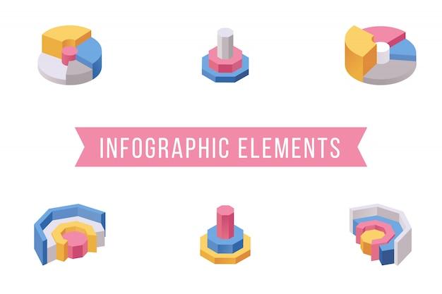 Conjunto de ilustraciones isométricas de elementos de gráfico circular
