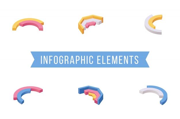 Conjunto de ilustraciones isométricas de elementos de infografía