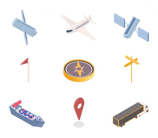 Conjunto de ilustraciones isométricas de iconos de la aplicación gps