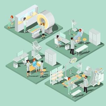 Conjunto de ilustraciones isométricas planas 3d de locales médicos en la clínica con el equipo apropiado
