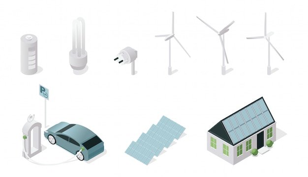 Conjunto de ilustraciones isométricas de símbolos de tecnología sostenible. fuentes de energía renovables y tecnología aislada