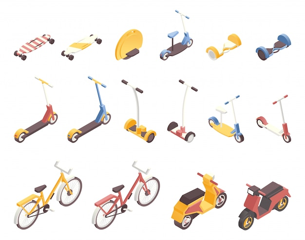 Conjunto de ilustraciones isométricas de transporte de la ciudad moderna.