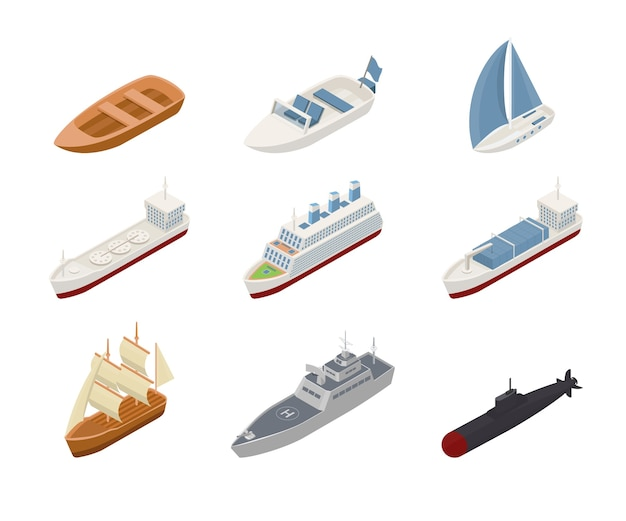 Conjunto de ilustraciones isométricas de transporte marítimo.