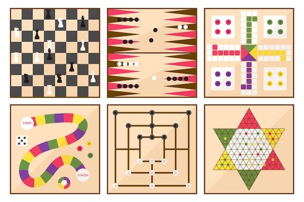 Conjunto de ilustraciones de juegos de mesa