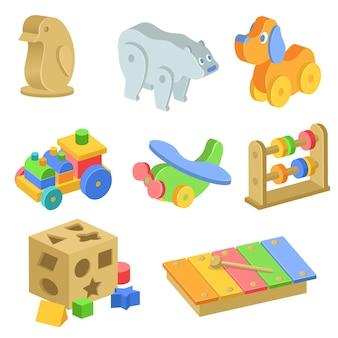 Conjunto de ilustraciones de juguetes de madera para niños.