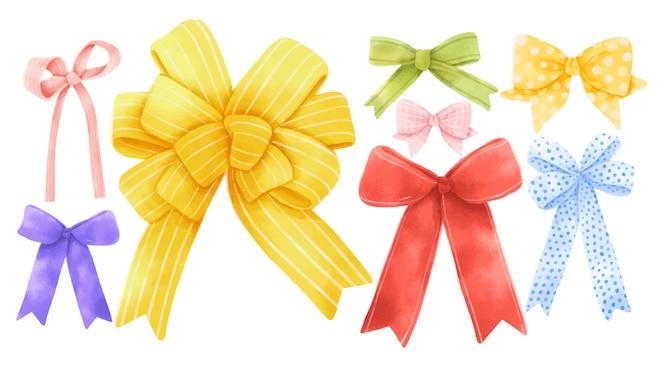 Conjunto de ilustraciones de lazo de cinta de regalo pintadas a mano estilos de acuarela