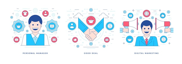 Conjunto de ilustraciones línea banners planos que representan al gerente personal