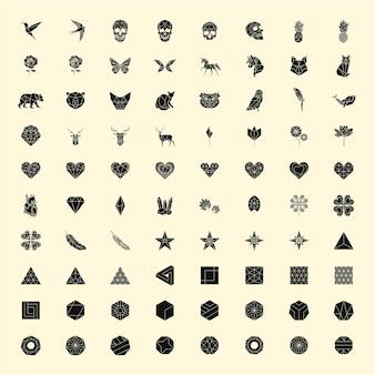 Conjunto de ilustraciones lineales de formas e iconos.