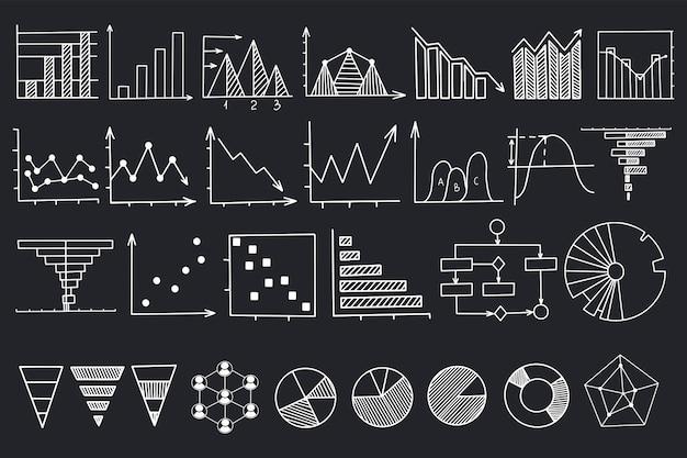 Conjunto de ilustraciones lineales de gráfico y tabla