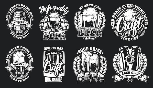 Conjunto de ilustraciones de logotipos de cerveza para un fondo oscuro.