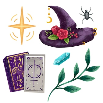 Un conjunto de ilustraciones mágicas en procrear artículos de brujas, un sombrero mágico con rosas, cartas del tarot, una lentejuela, un cristal, una rama verde con hojas y una araña.