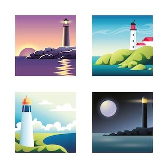 Conjunto de ilustraciones con mar y faros.