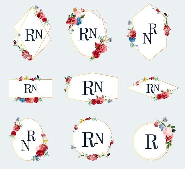 Conjunto de ilustraciones de marco floral