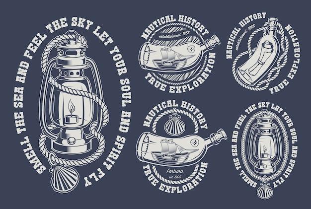 Conjunto de ilustraciones marinas vintage para el fondo oscuro. el texto está en el grupo separado.