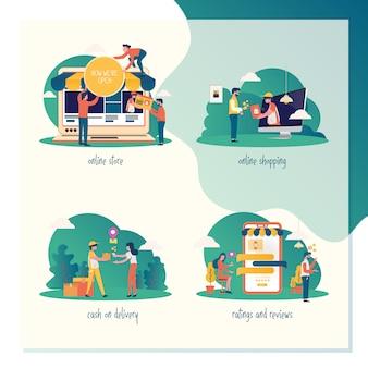 Conjunto de ilustraciones para marketing o comercio electrónico.