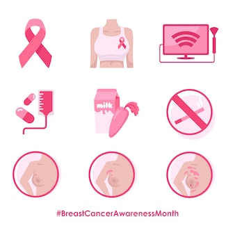 Conjunto de ilustraciones del mes de concientización sobre el cáncer de mama
