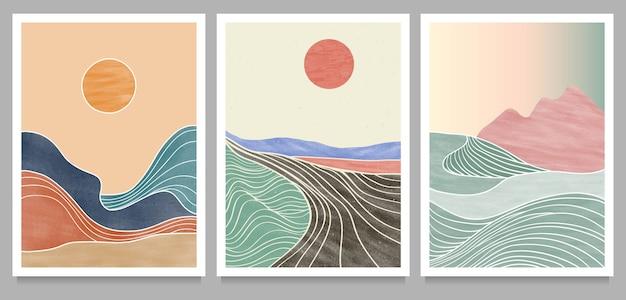 Conjunto de ilustraciones minimalistas creativas pintadas a mano de mediados de siglo moderno. fondo de paisaje abstracto natural. montaña, bosque, mar, cielo, sol y río