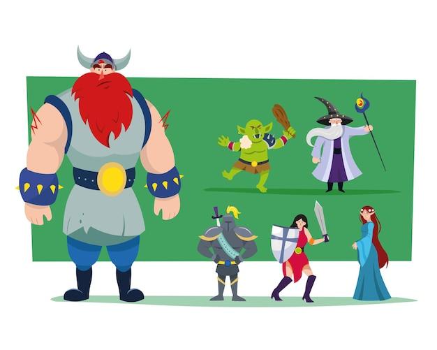 Conjunto de ilustraciones de monstruos y héroes de dibujos animados