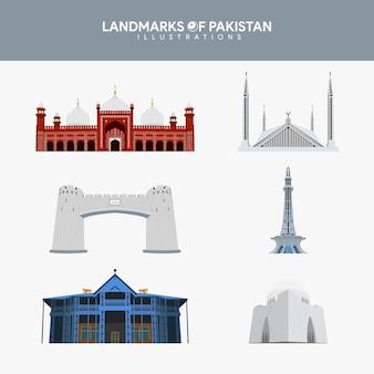 Conjunto de ilustraciones de monumentos famosos de pakistán