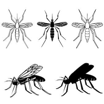 Conjunto de ilustraciones de mosquitos. elemento de logotipo, etiqueta, emblema, signo. imagen