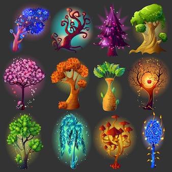 Conjunto de ilustraciones naturales de dibujos animados
