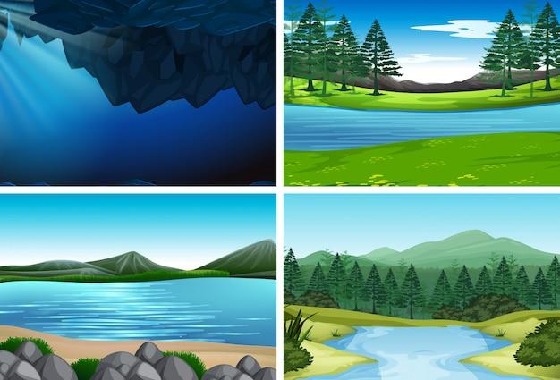 Conjunto de ilustraciones de la naturaleza.