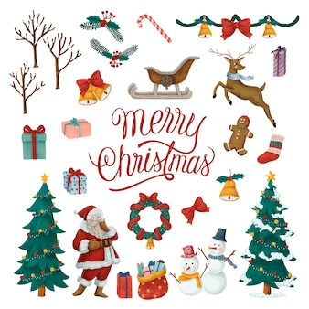 Conjunto de ilustraciones de navidad dibujadas a mano