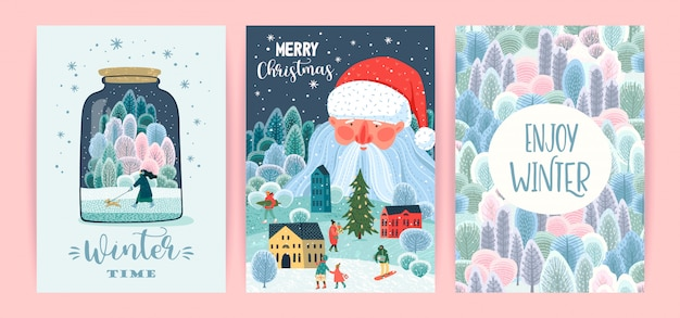 Conjunto de ilustraciones de navidad y feliz año nuevo. plantillas.