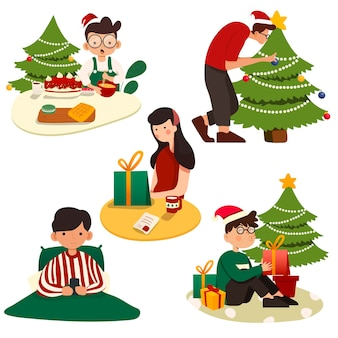 Conjunto de ilustraciones navideñas. estilo retro de moda.