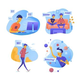 Conjunto de ilustraciones de niños con gadgets modernos.