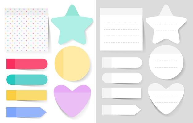Conjunto de ilustraciones de notas adhesivas. hoja de papel en blanco del bloc de notas para planificar y programar.