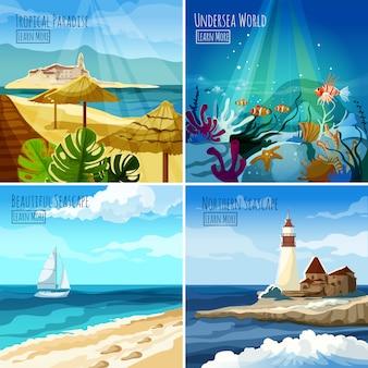 Conjunto de ilustraciones de paisaje marino