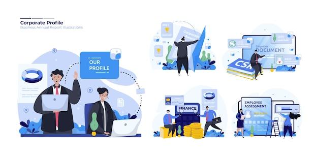 Conjunto de ilustraciones de perfil de negocio corporativo financiero.