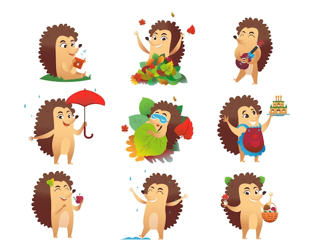 Conjunto de ilustraciones de personajes de dibujos animados lindo erizo