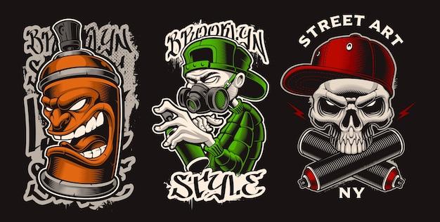 Conjunto de ilustraciones con personajes de graffiti.