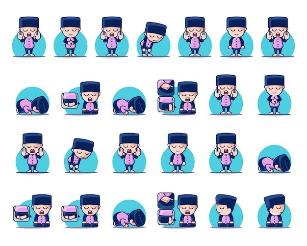 Conjunto de ilustraciones de personajes musulmanes que realizan salat o rezan paso a paso