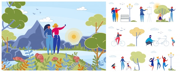 Conjunto de ilustraciones de personas disfrutando de la naturaleza