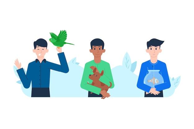 Conjunto de ilustraciones de personas jugando con sus mascotas