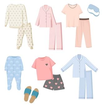 Conjunto de ilustraciones de pijamas de dibujos animados para niños y adultos.