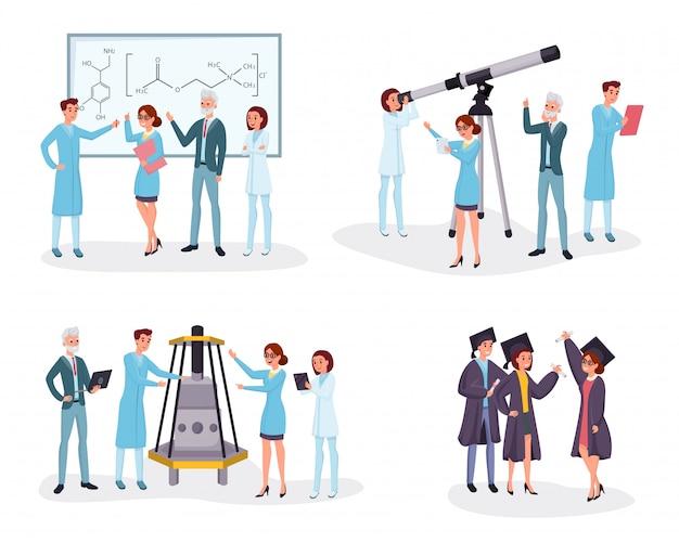Conjunto de ilustraciones planas de científicos y graduados