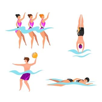 Conjunto de ilustraciones planas de deportes acuáticos extremos. atletas de natación sincronizados. hombre jugando voleibol en el agua. nadadores en piscina, mar, océano. personajes de dibujos animados aislados de estilo de vida activo