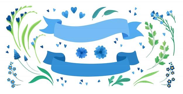 Conjunto de ilustraciones planas flores y cintas vacías. blooming flores silvestres del prado, hojas verdes y corazones saludo, paquete de elementos de diseño de tarjeta de invitación. decoraciones aisladas en blanco de rayas azules