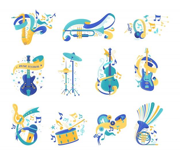 Conjunto de ilustraciones planas de instrumentos musicales y notas