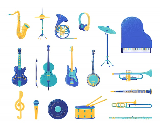 Conjunto de ilustraciones planas de instrumentos musicales