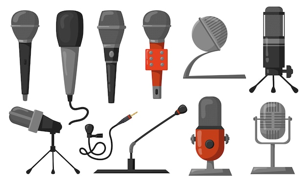 Conjunto de ilustraciones planas de micrófonos. equipo de estudio para podcasts o grabación o difusión de música. ilustración de vector de tecnología de audio, comunicación, concepto de rendimiento
