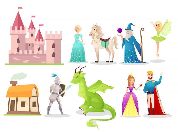 Conjunto de ilustraciones planas de personajes de cuento de hadas. valiente caballero luchando con dragón. hada mágica y mago. reina de dibujos animados, rey y princesa con caballo blanco. castillo medieval y antigua cabaña.