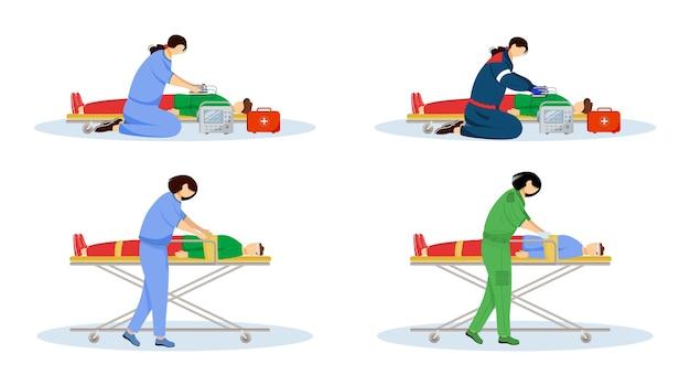 Conjunto de ilustraciones planas de primeros auxilios. médicos de urgencias y pacientes heridos. atención de urgencia, reanimación. paramédicos, emt con personajes de dibujos animados de desfibrilador aislados sobre fondo blanco
