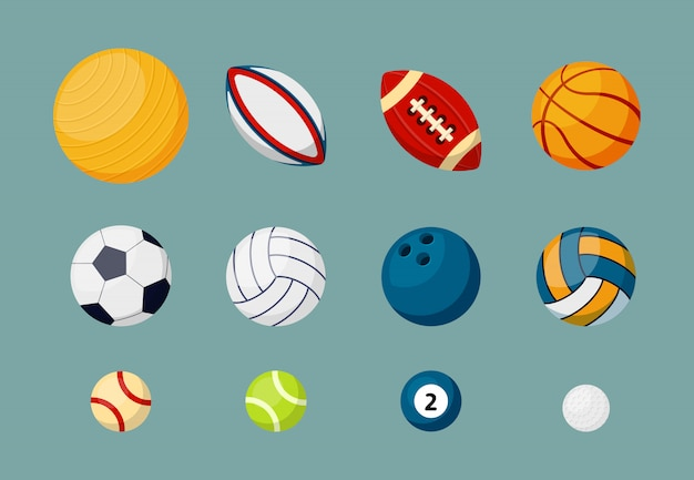 Conjunto de ilustraciones planas de varias pelotas deportivas