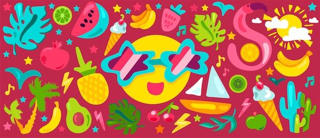 Conjunto de ilustraciones planas de verano tropical